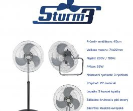 Cirkulační ventilátor STURM3v1, průměr 45cm- DOČASNĚ VYPRODÁNO!