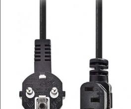 Kabel černý 2m se el. zástrčkou a IEC konektorem